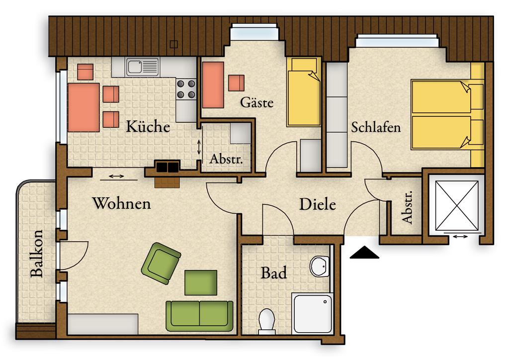 Villa luise wohnen mit weitblick in bester lage for Motel one zimmer grundriss